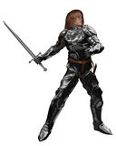 Young Knight Fighting or Training. Young knight in armour with sword fighting or training, 3d digitally rendered illustration Stock Photo