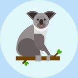 Young koala sitting on tree branch australia bear cute mammal peaceful relaxation nature vector. Young koala sitting on tree branch australia bear cute mammal stock illustration