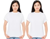Young korean woman in stylish t-shirt on white background. Mockup for design asian girl stock photos