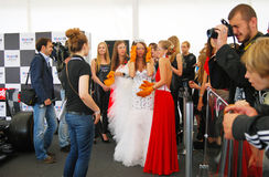 Young ladies prepare for competition Royalty Free Stock Photography