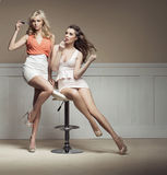 Young women preparing to the party Stock Photos