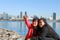 Young Ladies Taking Self Photo Royalty Free Stock Image
