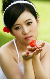 Young lady. Chinese young lady in white Royalty Free Stock Photo