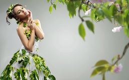 Young lady. Young beauty wearing ecologic dress Stock Image