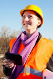 Young lady architect staying outdoors Stock Photos