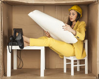Young lady architect surprised view building plans Royalty Free Stock Photos