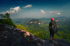 Young lady with backpack Stock Photography