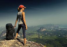 Young lady with backpack royalty free stock photos