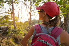 Young lady with backpack Stock Image