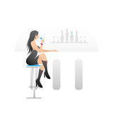 Young lady in a bar Royalty Free Stock Image