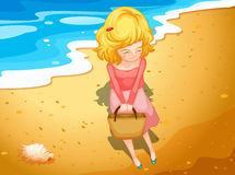 A young lady at the beach. Illustration of a young lady at the beach Stock Image