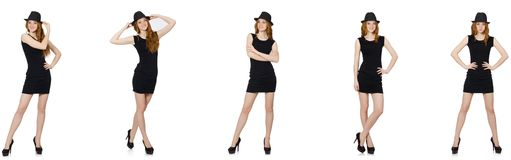 The young lady in black dress with black hat. Young lady in black dress with black hat royalty free stock images