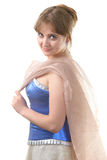 Young lady in blue dress Stock Photography