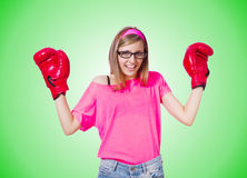 Young lady with boxing gloves on white Stock Photography