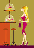 A young lady in the cafeteria. Young lady is choosing a cake royalty free illustration
