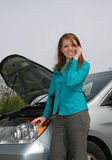 Young Lady with Car Trouble Stock Image