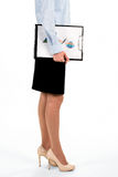 Young lady carrying graphic charts. Businesswoman holding clipboard with charts. Our new senior analyst. First day at credit department royalty free stock images
