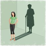Young lady casting shadow of old woman. In vector Royalty Free Stock Photo