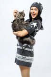 Young lady with a cat stock image