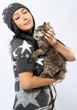 Young lady with a cat Royalty Free Stock Image