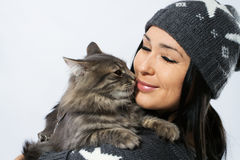 Young lady with a cat stock photography