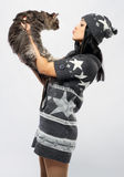 Young lady with a cat royalty free stock photography