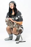 Young lady with a cat Royalty Free Stock Images