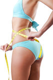 Young lady with centimetr - weight loss concept Royalty Free Stock Photos