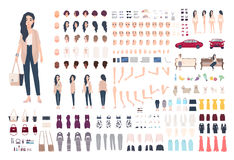 Young lady character constructor. Trendy girl creation set. Different woman postures, hairstyle, face, legs, hands. Clothes, accessories collection. Vector stock illustration