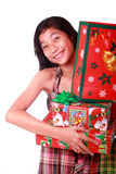 Young lady with christmas gifts Stock Image