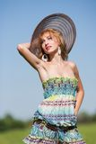 Young lady with colorful dress Royalty Free Stock Images