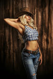 Young lady. In a cowboy hat Stock Photography