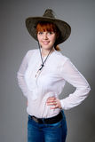 Young lady in a cowboy hat Stock Photo