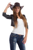 Young lady in a cowboy hat Royalty Free Stock Images