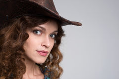 Young lady in a cowboy hat Stock Image