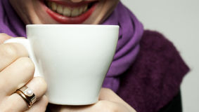 Young lady with a cup Stock Photos