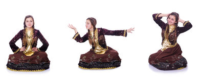 The young lady dancing traditional azeri dance. Young lady dancing traditional azeri dance Stock Images