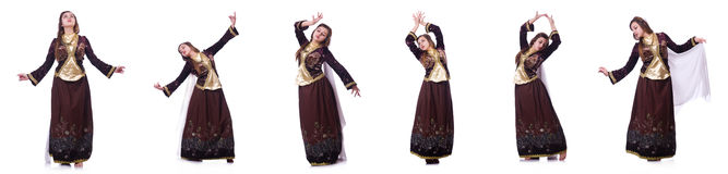 The young lady dancing traditional azeri dance Stock Photos