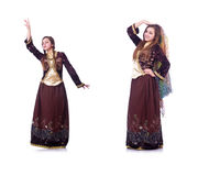 The young lady dancing traditional azeri dance. Young lady dancing traditional azeri dance Stock Photos