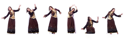 The young lady dancing traditional azeri dance. Young lady dancing traditional azeri dance Stock Image
