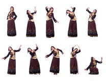 The young lady dancing traditional azeri dance. Young lady dancing traditional azeri dance Royalty Free Stock Images