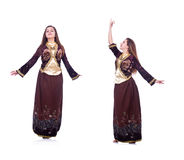 The young lady dancing traditional azeri dance. Young lady dancing traditional azeri dance Royalty Free Stock Image