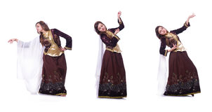 The young lady dancing traditional azeri dance. Young lady dancing traditional azeri dance Royalty Free Stock Photo