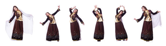 The young lady dancing traditional azeri dance. Young lady dancing traditional azeri dance Royalty Free Stock Photos