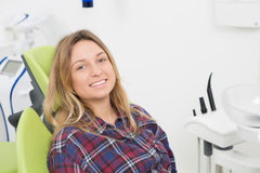 Young lady at dentist's office Stock Photo