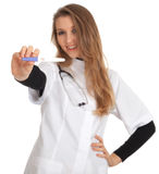 Young lady doctor and positive pregnancy test Stock Image