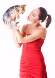 Young lady with a dog Royalty Free Stock Photo