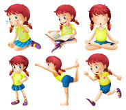 A young lady doing different activities Stock Photography