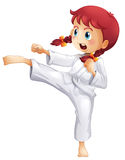 A young lady doing karate. Illustration of a young lady doing karate on a white background Stock Photos