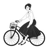 Young lady dressed in elegant clothes riding city bike drawn with contour lines on white background. Monochrome portrait vector illustration